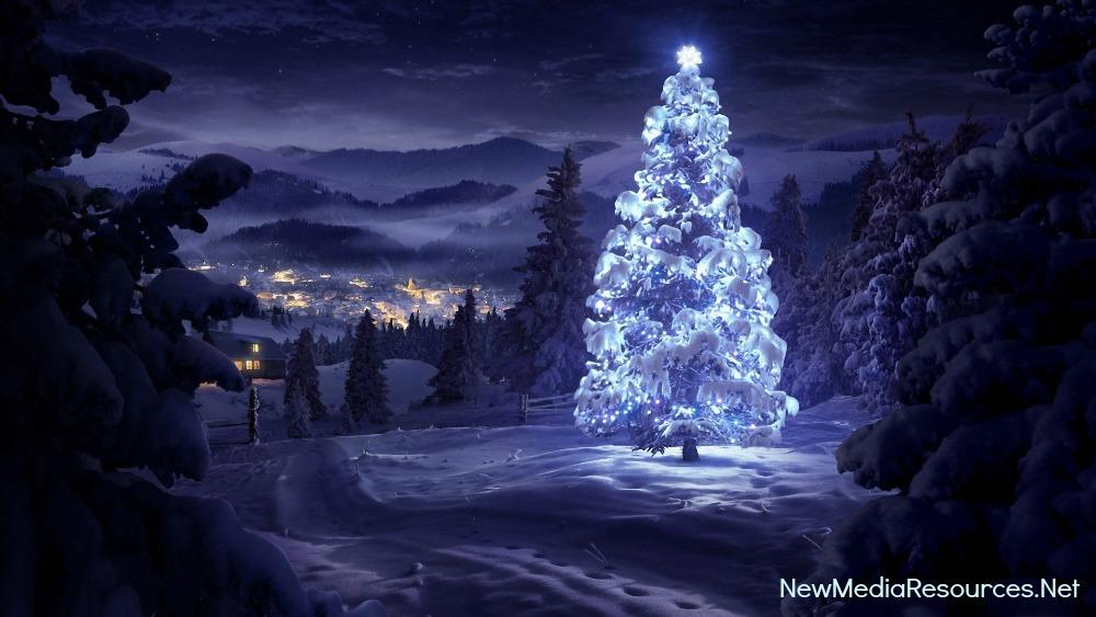 ChristmasTreeBlueCityBG